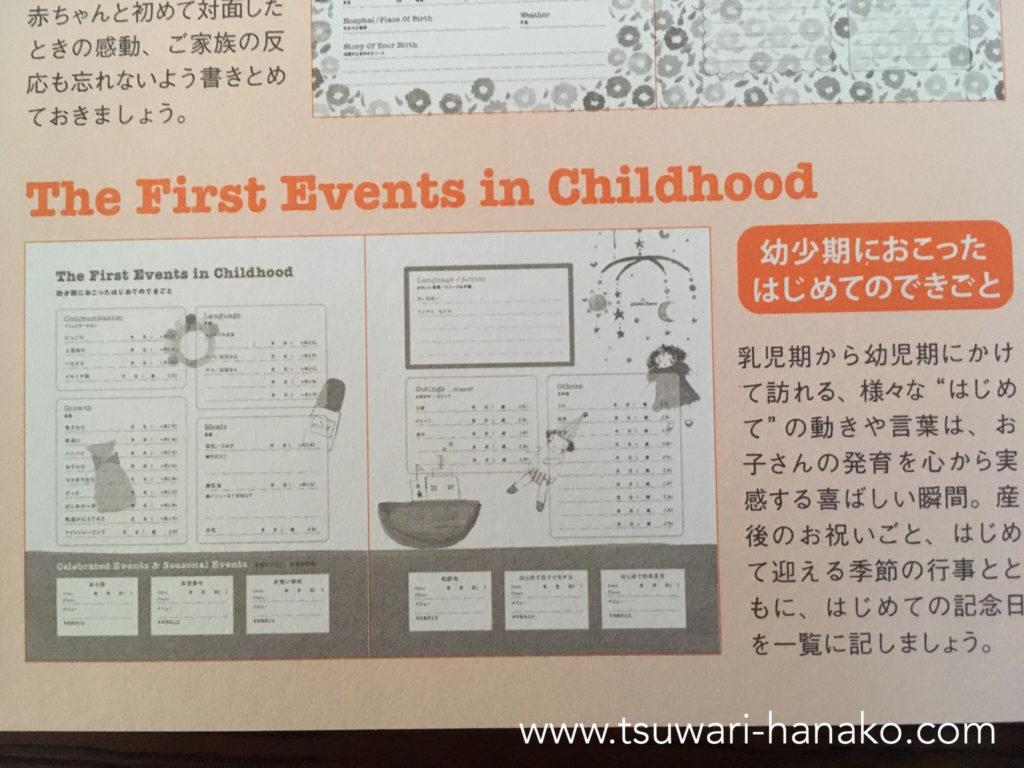 HAPPY BIRTHDAY BOOK幼少期におこったはじめてのできごとページ