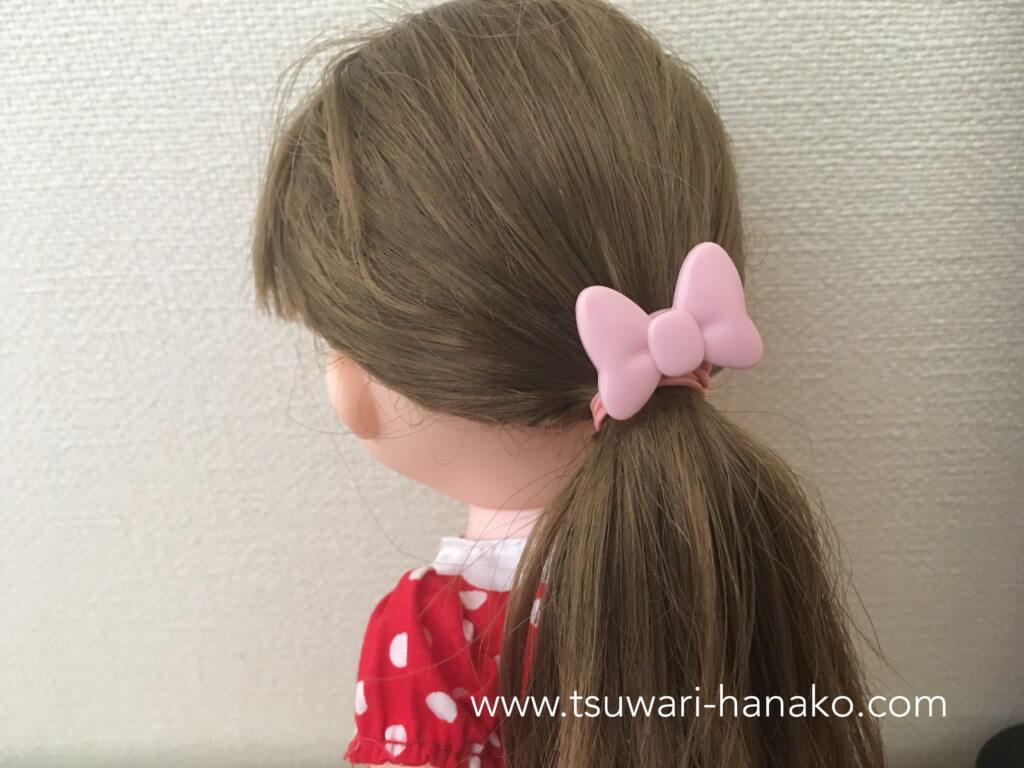 ソランちゃんの髪を結ぶ